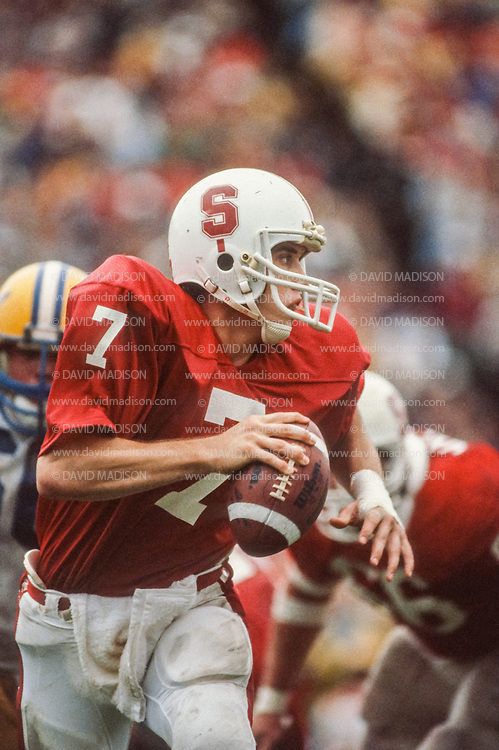 PALO ALTO, CA - NOVEMBER 21:  Quarterback John Elway #7 of the Stanford Cardinal plays in the Big Game against the University of California Golden Bears on November 21, 1981 at Stanford Stadium in Palo Alto, California.