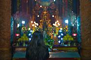 A Vietnamese woman prays in Quan Su Pagoda on Tet eve, Hanoi, Vietnam, Southeast Asia, 2013