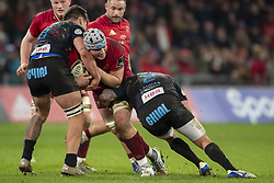 March 23, 2019 - Limerick, Ireland - Fineen Wycherley of Munster tackled by Oliviero Fabiani and Renato Giammarioli of Zebre during the Guinness PRO14 match between Munster Rugby and Zebre at Thomond Park Stadium in Limerick, Ireland on March 23, 2019  (Credit Image: © Andrew Surma/NurPhoto via ZUMA Press)