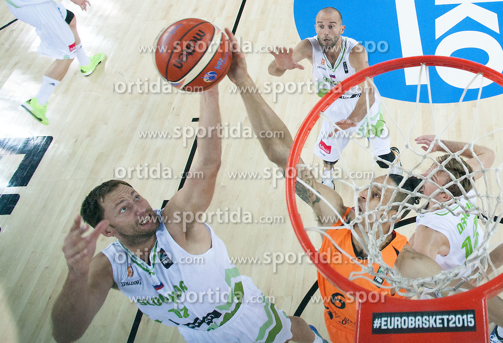 Sasa Zagorac of Slovenia vs Worthy de Jong of Netherlands during basketball match between Slovenia vs Netherlands at Day 4 in Group C of FIBA Europe Eurobasket 2015, on September 8, 2015, in Arena Zagreb, Croatia. Photo by Vid Ponikvar / Sportida