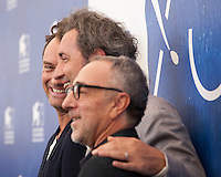 Jude Law, Paolo Sorrentino and Silvio Orlando at the The Young Pope film photocall at the 73rd Venice Film Festival, Sala Grande on Saturday September 3rd 2016, Venice Lido, Italy.