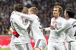20.11.2010,  BayArena, Leverkusen, GER, 1. FBL, Bayer Leverkusen vs FC Bayern Muenchen, 13. Spieltag, im Bild: Bastian Schweinsteiger (Muenchen #31) (links) und Toni Kroos (Muenchen #39) (rechts) bejubeln das 0:1 mit Torschuetze Mario Gomez (Muenchen #33) (links - mittig) und mit Andreas Ottl (Muenchen #16) und Daniel Pranjic (Muenchen #23) EXPA Pictures © 2010, PhotoCredit: EXPA/ nph/  Mueller****** out ouf GER ******