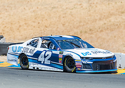 June 22, 2018 - Sonoma, CA, U.S. - SONOMA, CA - JUNE 22:  Kyle Larson, driving the #(42) Chevrolet for Chip Ganassi Racing negotiates around turn 8a on Friday, June 22, 2018 at the Toyota/Save Mart 350 Practice day at Sonoma Raceway, Sonoma, CA (Photo by Douglas Stringer/Icon Sportswire) (Credit Image: © Douglas Stringer/Icon SMI via ZUMA Press)