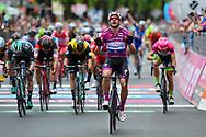 Arrival sprint Elia Viviani (ITA - QuickStep - Floors) celebration during the 101th Tour of Italy, Giro d'Italia 2018, stage 13, Ferrara - Nervesa della Battaglia 180 km on May 18, 2018 in Italy - Photo Dario Belingheri / BettiniPhoto / ProSportsImages / DPPI