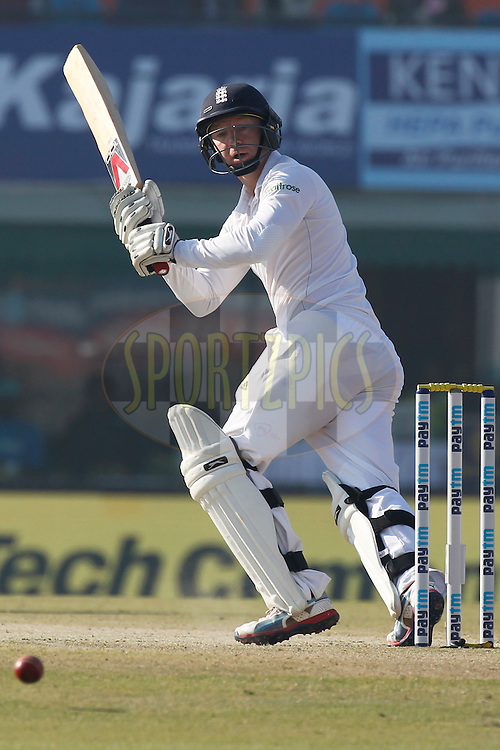 Gareth Batty of England bats during day 2 of the third test match between India and England held at the Punjab Cricket Association IS Bindra Stadium, Mohali on the 27th November 2016.<br /> <br /> Photo by: Deepak Malik/ BCCI/ SPORTZPICS