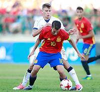 Spain's Dani Ceballos (f) and Italy's Barella during international sub 21 friendly match. September 1,2017.(ALTERPHOTOS/Acero)