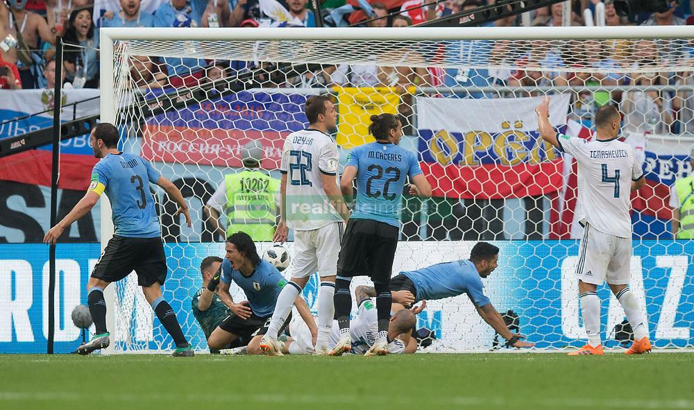 June 25, 2018 - Samara, Russia - Uruguay player Edinson Cavani scores the third Uruguay goal during the 2018 FIFA World Cup Russia group A match between Uruguay and Russia at Samara Arena on June 25, 2018 in Samara, Russia. (Credit Image: © Foto Olimpik/NurPhoto via ZUMA Press)
