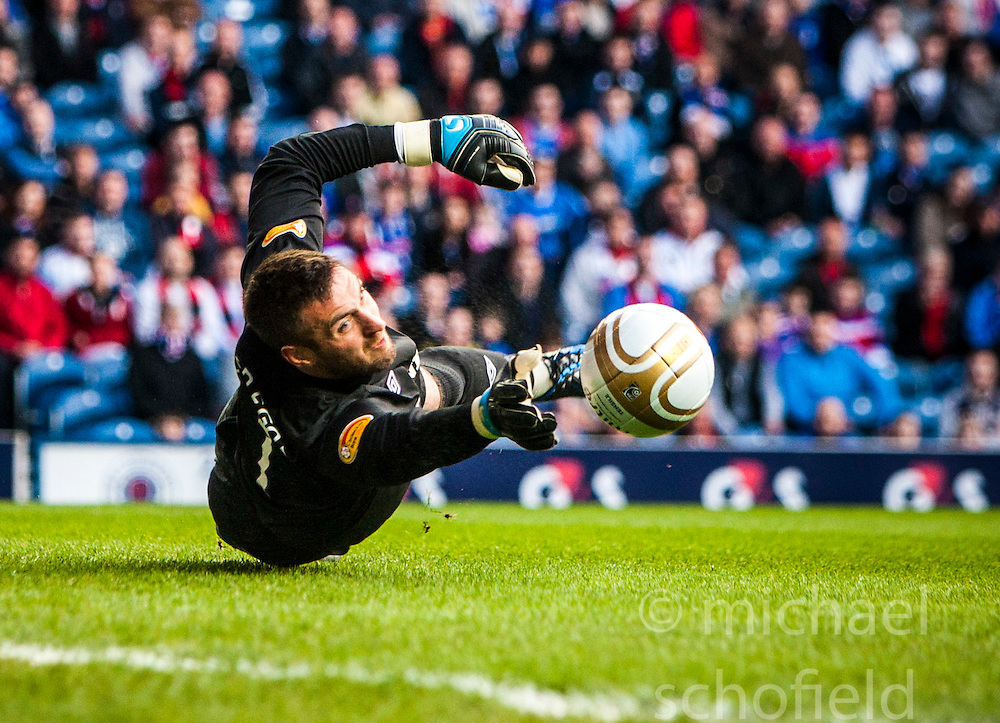 Glasgow Rangers goalkeeper Allan McGregor makes a save during the recent game v Dundee Utd..©Michael Schofield..