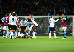 Aston Villa's Gabriel Agbonlahor is sent off for a foul on Manchester United's Ashley Young  - Photo mandatory by-line: Joe Meredith/JMP - Mobile: 07966 386802 - 20/12/2014 - SPORT - football - Birmingham - Villa Park - Aston Villa v Manchester United - Barclays Premier League