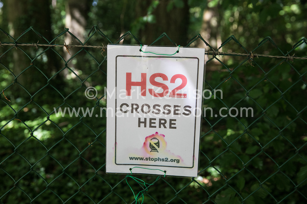 An anti-HS2 sign is seen on 17th July 2020 in Wendover, United Kingdom. Environmental activists from groups including Stop HS2 and HS2 Rebellion continue to protest against HS2, which is currently projected to cost £106bn and which will remain a net contributor to CO2 emissions during its projected 120-year lifespan, on environmental and economic grounds.
