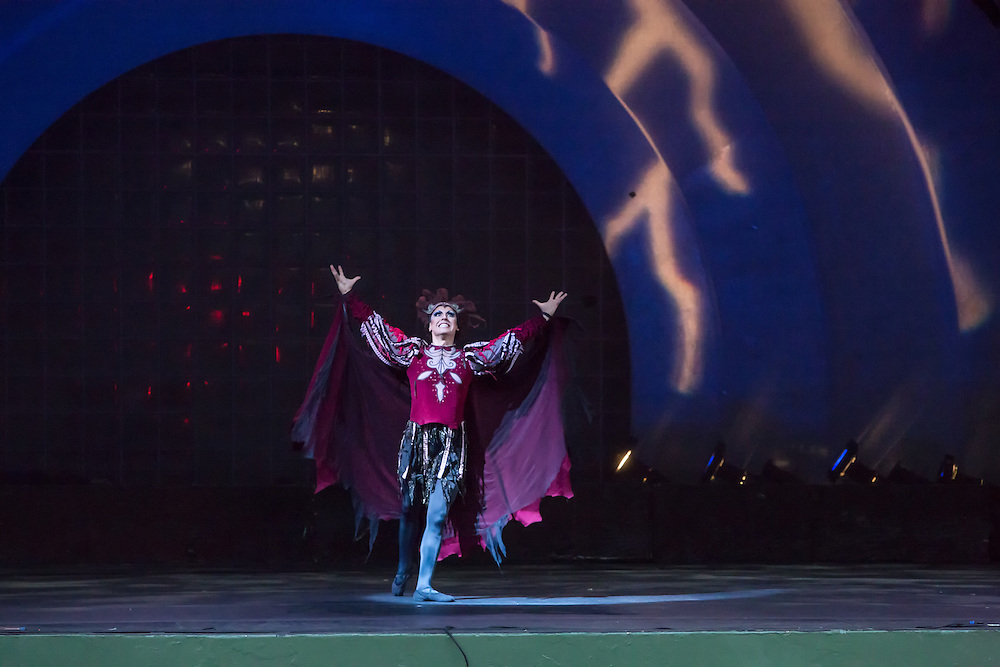 A dancer plays Von Rothbart in Les Ballets Trockadero de Monaco production of Tchaikovsky's Swan Lake at Celebrate Brooklyn in Prospect Park.