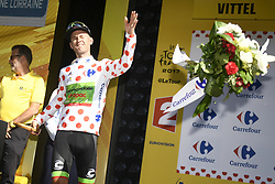 July 4, 2017 - Vittel, FRANCE - US Nathan Brown of Cannondale Drapac Professional Cycling Team celebrates on the podium in the red polka-dot jersey for best climber after the fourth stage of the 104th edition of the Tour de France cycling race, 207,5 km from Mondorf-les-Bains, Luxembourg, to Vittel, France, Tuesday 04 July 2017. This year's Tour de France takes place from July first to July 23rd. BELGA PHOTO YORICK JANSENS (Credit Image: © Yorick Jansens/Belga via ZUMA Press)