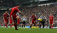 Photo: Paul Thomas.<br /> Liverpool v Sheffield United. The Barclays Premiership. 24/02/2007.<br /> <br /> Robbie Fowler of Liverpool scores his first penalty of the after noon.