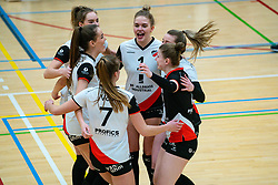 Fleur Meinders of Apollo 8 celebrate during the first league match between Laudame Financials VCN vs. Apollo 8 on February 06, 2021 in Capelle aan de IJssel.