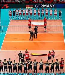 23-09-2019 NED: EC Volleyball 2019 Poland - Germany, Apeldoorn<br /> 1/4 final EC Volleyball - Poland win 3-0 / Line up Poland and Germany