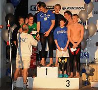 Svømming<br /> 10. Mail 2008<br /> Bergen Swim Festival i sentralbadet i Bergen<br /> De tre beste på 100 m bryst , med Alexander Dale Oen.<br /> Foto : Astrid M. Nordhaug