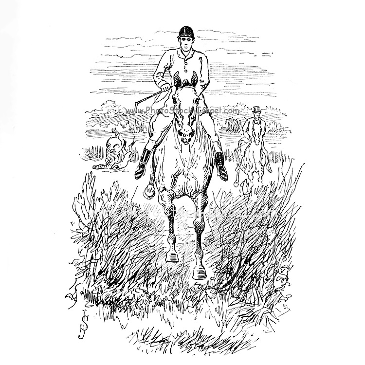 """Fox Hunting illustration From the book ' The best season on record ' selected and republished from """"The field"""" by Captain Pennell-Elmhirst, Edward 1845-1916; Illustrated by John Sturgess, Published in London by George Routledge and Sons 1884"""