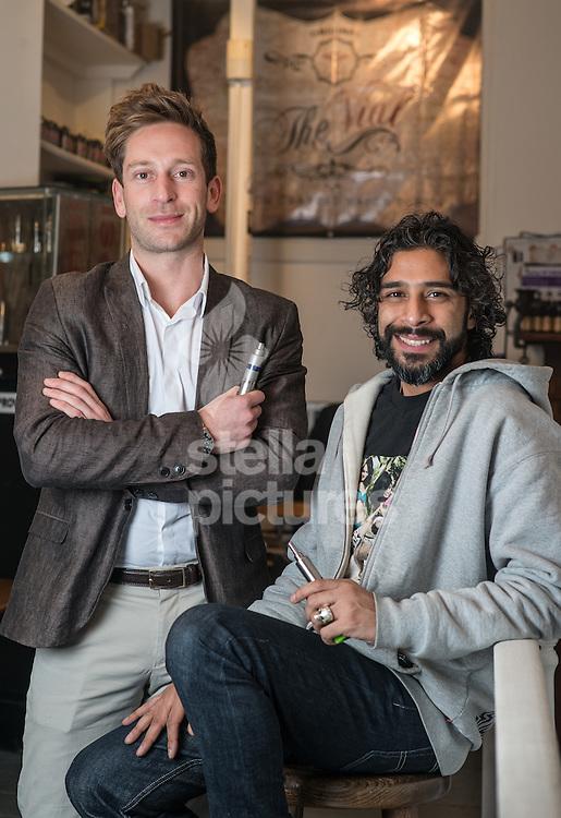 Andy Logan (left) and Amar ElZayat, directors of Vape Emporium in their north London store.<br /> Picture by Daniel Hambury/Stella Pictures Ltd +44 7813 022858<br /> 30/01/2015