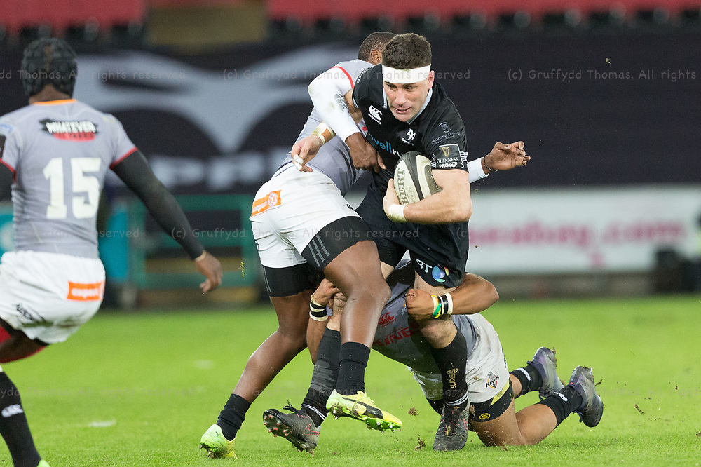 Liberty Stadium, Swansea, Wales, UK. Friday 16 February 2018.  Ospreys centre Kieron Fonotia in the Guinness Pro14 match between Ospreys and Southern Kings.