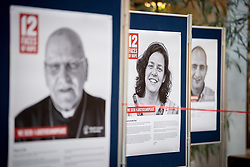 """18 September 2017, Geneva, Switzerland: The World Council of Churches formally opens the """"12 Faces of Hope"""" exhibition at the Ecumenical Centre in Geneva. The exhibition faces 12 people from Israel and Palestine, sharing testimonies of hope, towards a future of justice and peace in the Holy Land."""