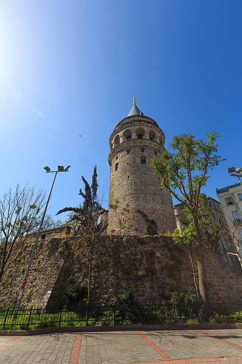 Galata Tower in Istanbul, Turkey. Genoese colony built the tower in 1348. It belonged to the fortifications that surrounded the Genoese citadel of Galata.