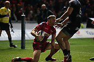 Tom Prydie of the Scarlets (l) celebrates  after he scores his teams 1st try.  EPCR European Champions cup match, Scarlets v RC Toulon at the Parc y Scarlets in Llanelli, West Wales on Saturday 20th January 2018. <br /> pic by  Andrew Orchard, Andrew Orchard sports photography.