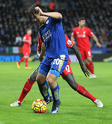 Mamadou Sakho of Liverpool (L) and Shinji Okazaki of Leicester City in action - Mandatory byline: Jack Phillips/JMP - 02/02/2016 - FOOTBALL - King Power Stadium - Leicester, England - Leicester City v Liverpool - Barclays Premier League