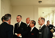 President Lyndon Johnson talks with the Executive Committee of Governors at the door of the Oval Office  in July 1969<br />Photo by Dennis Brack bb72