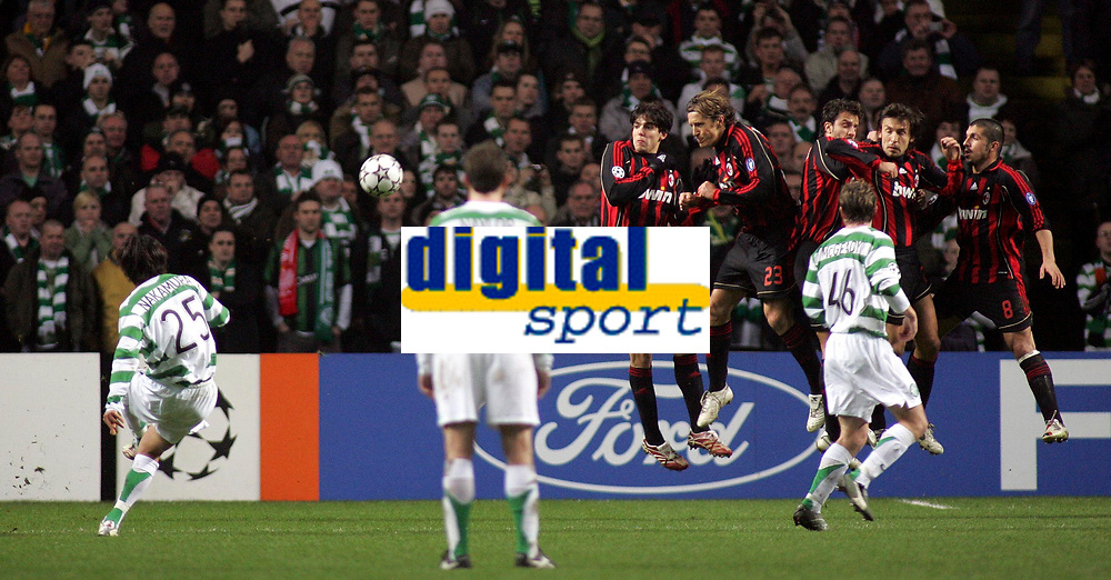 Photo: Paul Thomas.<br /> Glasgow Celtic v AC Milan. UEFA Champions League. Last 16, 1st Leg. 20/02/2007.<br /> <br /> Shunsuke Nakamura (25) of Celtic tries one off his specialist free kicks at goal, but this time no luck.