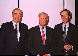 Left to right, brothers MR RUPERT HAMBRO, MR RICHARD HAMBRO and MR JAMES HAMBRO, members of the banking family, at an exhibition in London on 26th October 1998.MLF 34