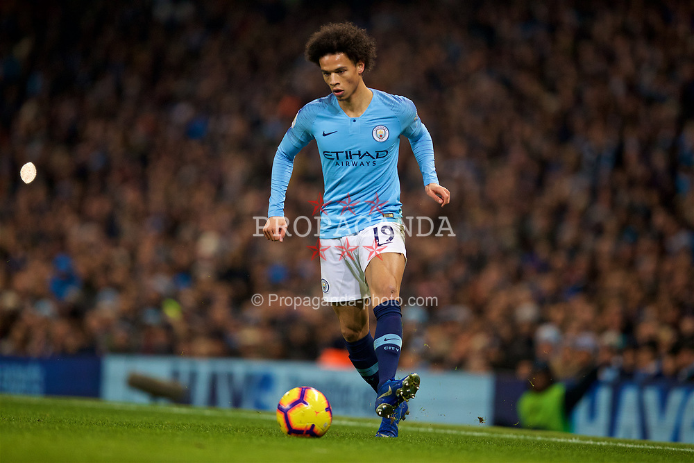 MANCHESTER, ENGLAND - Thursday, January 3, 2019: Manchester City's Leroy Sane during the FA Premier League match between Manchester City FC and Liverpool FC at the Etihad Stadium. (Pic by David Rawcliffe/Propaganda)