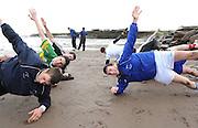 Reenard GAA Club  footballers at a training session  at Reenroe Beach in Ballinskelligs, Co. Kerry.  Picture: Eamonn Keogh (MacMonagle, Killarney)