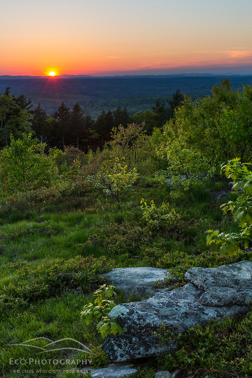 Sunset as seen from the summit of Mount Agamenticus in York, Maine.