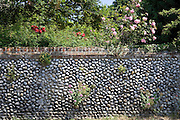 Brick and flint wall in Happisburgh, Norfolk, United Kingdom