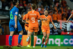 Players of Nederland team celebrating their first goal during football match between Slovenia and Nederland in qualifying Round of Woman's qualifying for EURO 2021, on October 5, 2019 in Mestni stadion Fazanerija, Murska Sobota, Slovenia. Photo by Blaž Weindorfer / Sportida
