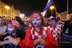 ZAGREB, June 16, 2018  Fans of Croatia react as they watch a group D football match between Croatia and Nigeria at the 2018 FIFA World Cup on a giant screen at Ban Jelacic Square in Zagreb, Croatia, on June 16, 2018. (Credit Image: © Matija Habljak/Xinhua/Xinhua via ZUMA Wire)