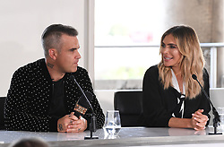 Robbie Williams and Ayda Field attending the X Factor photocall held at Somerset House, London. Photo credit should read: Doug Peters/EMPICS