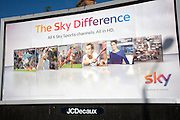 Large billboard advertising poster for Sky Sports TV at, Dovercourt, Harwich, Essex, England