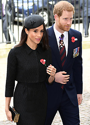 The Duke of Cambridge, Prince Harry and Meghan Markle attend an Anzac Day Service of Commemoration and Thanksgiving at Westminster Abbey, London, UK, on the 25th April 2018. 25 Apr 2018 Pictured: Meghan Markle, Prince Harry. Photo credit: James Whatling / MEGA TheMegaAgency.com +1 888 505 6342