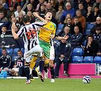Photo: Mark Stephenson.<br /> West Bromwich Albion v Norwich City. Coca Cola Championship. 27/10/2007.Norwich's Chris Martin is challenged by Broms Bostjan Cesar