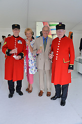 CHRISTINE & NEIL HAMILTON with Chelsea Pensioners at the Flannels For Heroes cricket competition in association with Dockers held at Burton Court, Chelsea, London on 19th June 2015