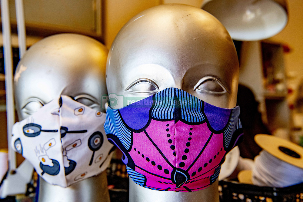 In Sewing workshop Aladdin makes unique masks made with own design and different fabrics, from 1 June masks are required in public transport bus trains metro make sewing machine. Rotterdam, Netherlands on May 7, 2020. Photo by Robin Utrecht/ABACAPRESS.COM