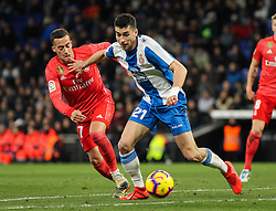 January 27, 2019 - Barcelona, BARCELONA, Spain - Lucas Vazquez of Real Madrid and Marc Roca of Espanyol in action during La Liga Spanish championship, , football match between Espanyol and Real Madrid,  January 27th, in RCDE Stadium in Barcelona, Spain. (Credit Image: © AFP7 via ZUMA Wire)
