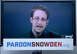 Edward Snowden speaks at the launch of a campaign calling on President Obama to pardon him - Launch of a campaign calling upon President Barack Obama to pardon Edward Snowden before he leaves offices, via press conference. Speakers include Edward Snowden via video from Moscow, ACLU Executive Director Anthony Romero, Human Rights Watch General Counsel Dinah PoKempner, Amnesty International Director of USA's Security and Human Rights Program Naureen Shah, and Snowden's ACLU attorney Ben Wizner. Press conference includes an initial list of 'prominent' supporters of the campaign. New York City, NY, USA on September 14, 2016. Photo by Dennis Van Tine/ABACAPRESS.COM