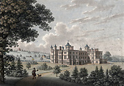 Audley End House, Essex, begun by Lord Thomas Howard 1603.  Mansion as it appeared in 1781.  Hand-coloured engraving.