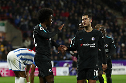 Chelsea's Willian (left) celebrates scoring his side's second goal of the game with teammate Eden Hazard