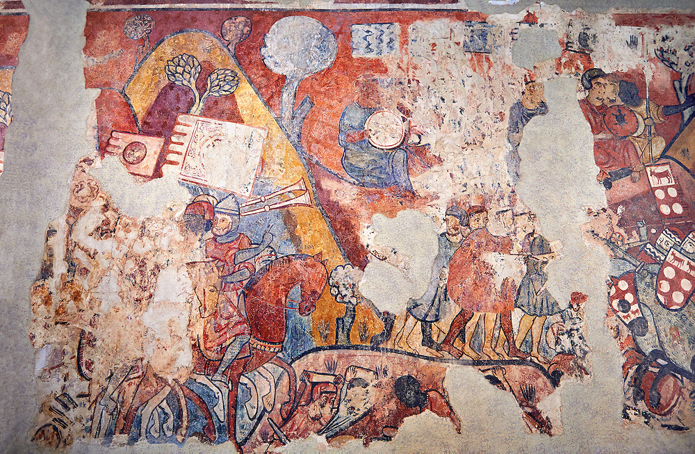 """Gothic fresco mural painting """"THE CONQUEST OF MAJORCA"""" 1285-1290. National Museum of Catalan Art, Barcelona, Spain, inv no: 071447-CJT. <br /> The mural paintings of the Conquest of Majorca come from the former ancestral home of the Caldes family in Carrer Montcada in Barcelona, a building later known as Palau Aguilar. Discovered and removed in 1961, these paintings are one of the most important examples of early or Linear Gothic Catalan painting. This magnificent example of painting on historical subject matter narrates the conquest of the island of Majorca by James I the Conqueror in 1229. Like a painted chronicle, the episodes follow the detailed narrative of Catalan medieval accounts such as King James I's 'Llibre dels Feits' and Bernat Desclot's 'Crònica'. .<br /> <br /> If you prefer you can also buy from our ALAMY PHOTO LIBRARY  Collection visit : https://www.alamy.com/portfolio/paul-williams-funkystock/gothic-art-antiquities.html  Type -     MANAC    - into the LOWER SEARCH WITHIN GALLERY box. Refine search by adding background colour, place, museum etc<br /> <br /> Visit our MEDIEVAL GOTHIC ART PHOTO COLLECTIONS for more   photos  to download or buy as prints https://funkystock.photoshelter.com/gallery-collection/Medieval-Gothic-Art-Antiquities-Historic-Sites-Pictures-Images-of/C0000gZ8POl_DCqE"""