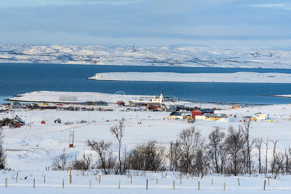 Nesseby (Unjarga) in Varangerfjord, Troms & Finnmark, northern Norway in March 2021.