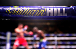 Close up of the William Hill sponsored ring side at Madison Square Garden, New York.