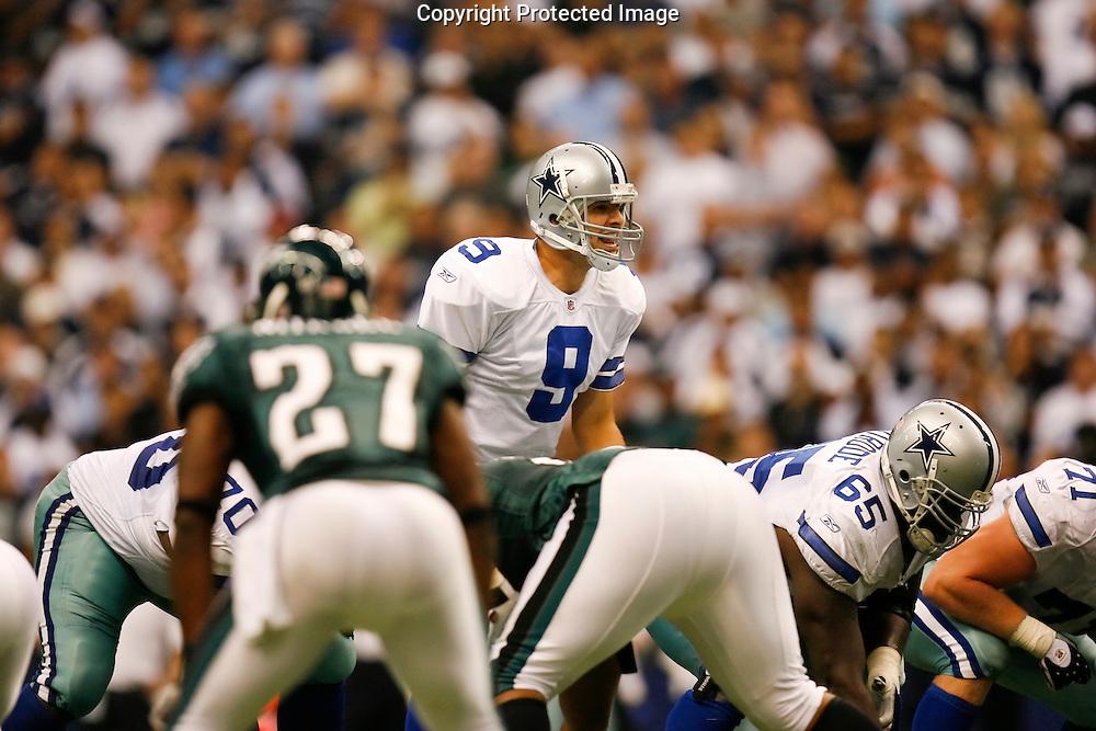 15 Sept 2008: Dallas Cowboys quarterback Tony Romo #9 during the game against the Philadelphia Eagles on September 15th, 2008. The Cowboys beat the Eagles 41-37 at Texas Stadium in Irving, Texas.